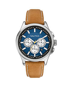 Nautica Men's NCT 17 Blue and Tan Leather Chronograph Watch