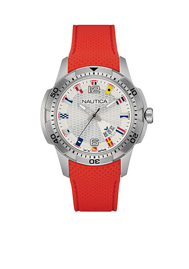 Nautica Men's NCS 16 Flag Red Silicone Watch