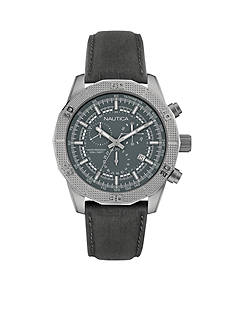 Nautica Men's Grey Leather Watch