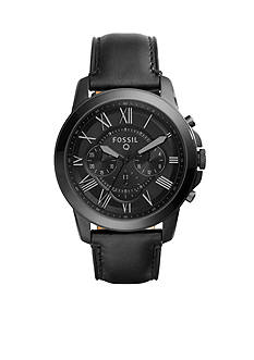 Men's Fossil Q Grant Chronograph Black Leather Watch