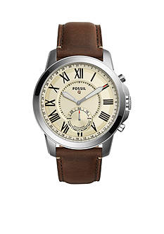 Fossil Q Grant Dark Brown Leather Hybrid Smartwatch