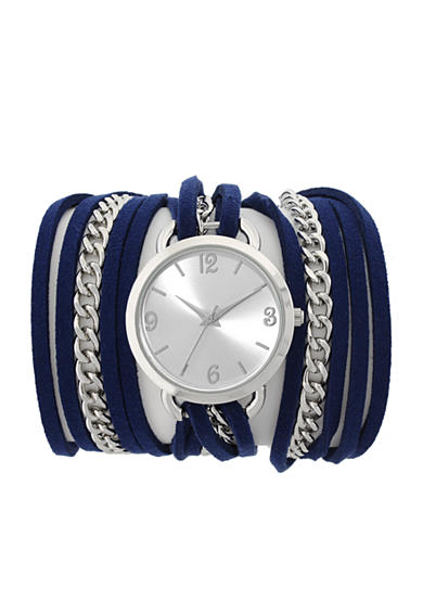 A Classic Time Watch Co. Blue Suede and Silver Wrap Watch