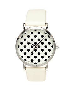 A Classic Time Watch Co. Women's White With Black Dots Watch