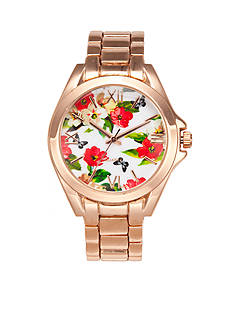 A Classic Time Watch Co. Women's Floral Rose Gold-Tone Watch