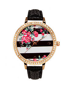 A Classic Time Watch Co. Women's Black Strip and Floral Watch