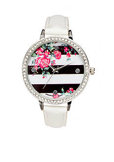 A Classic Time Watch Co. Women's White Stripe Floral Watch