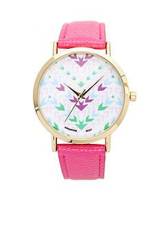 A Classic Time Watch Co. Women's Pink Chevron Watch