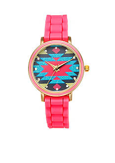 A Classic Time Watch Co. Women's Tribal Pink Silicone Watch