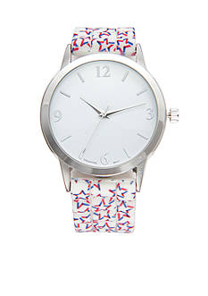 A Classic Time Watch Co. Women's White Strap with Stars Watch