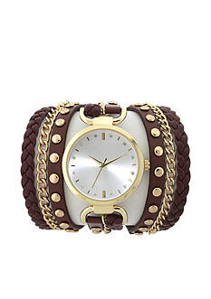 A Classic Time Watch Co. Brown and Gold Wrap Watch