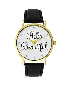 A Classic Time Watch Co. Women's Black 'Hello Beautiful' Watch