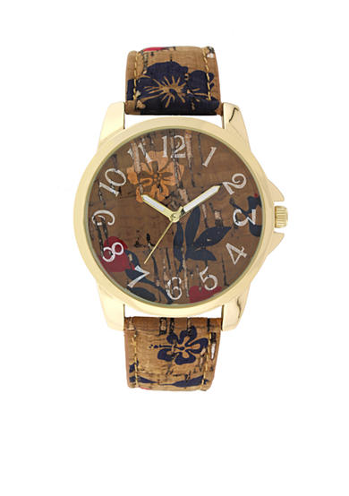 A Classic Time Watch Co. Women's Brown Cork Floral Watch