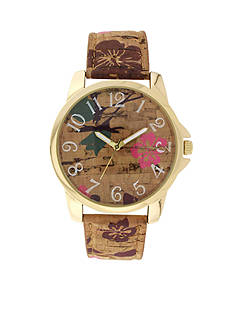 A Classic Time Watch Co. Women's Brown Cork Pink Floral Watch