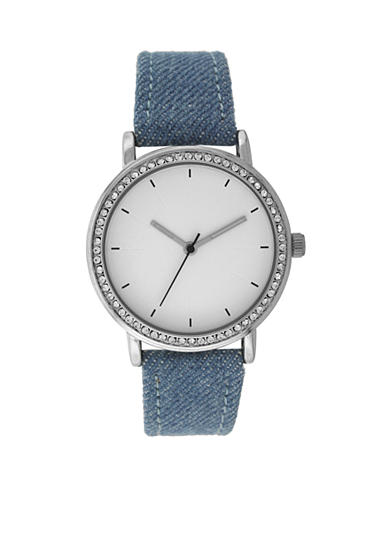 A Classic Time Watch Co. Women's Silver Tone with Denim Strap Watch