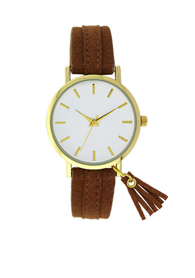 A Classic Time Watch Co. Women's Brown Tassel Strap Watch