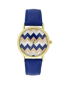 A Classic Time Watch Co. Women's Blue Chevron Watch