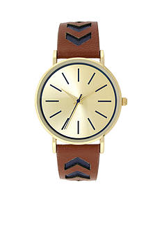 A Classic Time Watch Co. Gold-Tone Brown and Navy Watch