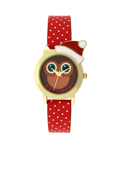 A Classic Time Watch Co. Women's Owl Red Leather Watch