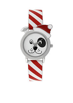 A Classic Time Watch Co. Dog Print Red/White Strap Watch