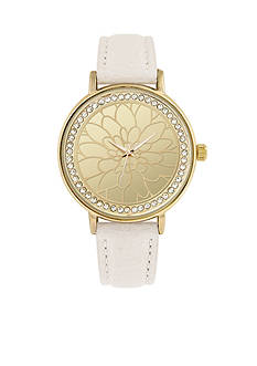Jessica Carlyle Women's Floral Cut Out Gold-Tone Watch