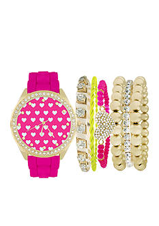 Jessica Carlyle Women's Fushia and Gold-Tone Watch and Bracelet Set