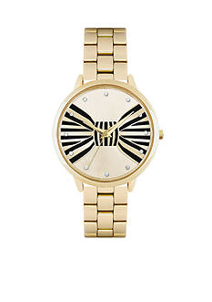 Jessica Carlyle Women's Black & Gold Bow Watch