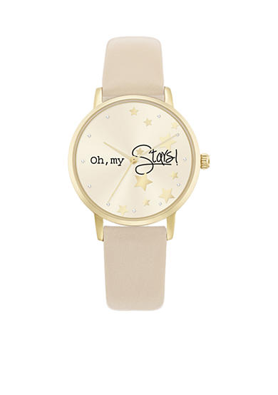 Jessica Carlyle Women's Gold-Tone Oh My Stars Tan Watch
