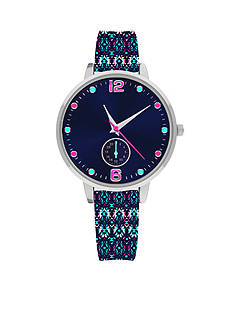 American Exchange Women's Printed Strap Color Dial Watch
