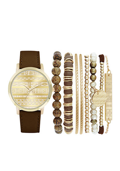 Jessica Carlyle Women's Brown BOHO Watch & Bangle Set