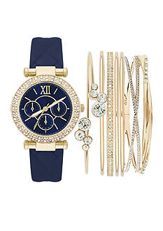 Jessica Carlyle Women's Gold-Tone Case Watch & Bangle Set