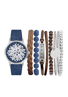 Jessica Carlyle Women's Blue Flower Dial BOHO Watch & Bangle Set
