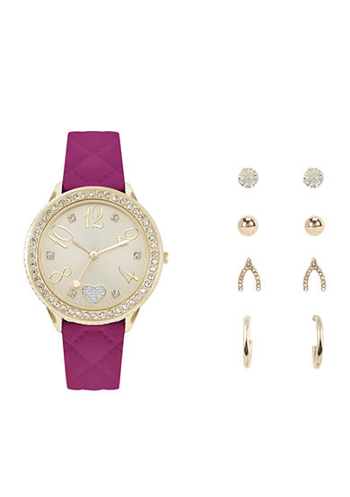 Jessica Carlyle Gold-Tone Glitz Quilting Watch and Earrings Set