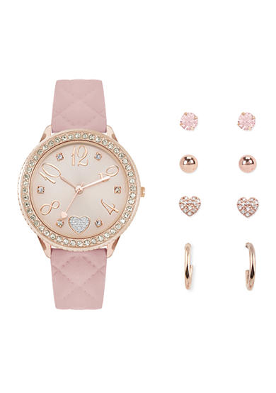 Jessica Carlyle Women's Pink Rose Gold-Tone Watch and Earring Set
