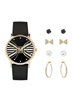 Jessica Carlyle Women's Black and Gold-Tone Bow Watch and Earring Set