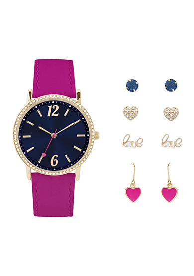 Jessica Carlyle Women's Pink and Navy Watch and Earring Set