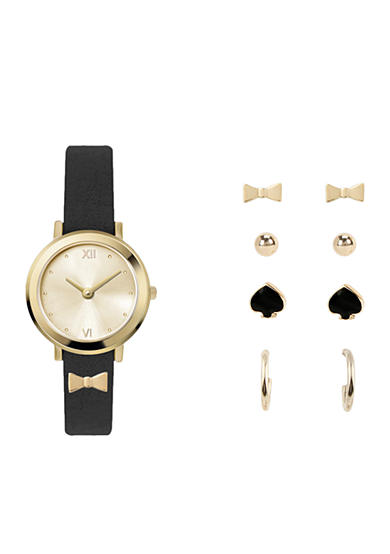 Jessica Carlyle Gold-Tone Black Bow Watch and Earrings Set