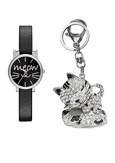 Jessica Carlyle Women's Black Meow Watch and Keychain Set