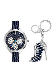 Jessica Carlyle Women's Jean Watch and Shoe Keychain Set