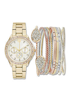 Jessica Carlyle Women's Gold Watch and Bracelet Set
