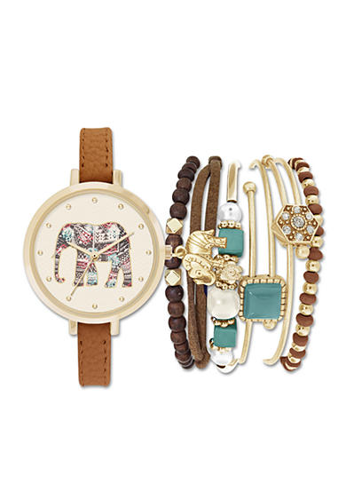 Jessica Carlyle Women's Gold-Tone Elephant Watch and Bracelet Set