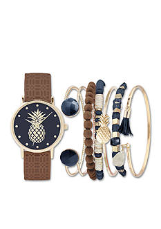 Jessica Carlyle Women's Pineapple Watch and Bracelet Set