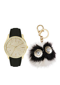 Jessica Carlyle Women's Black and Gold-Tone Watch and Keychain Set