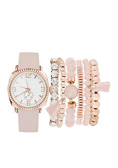 Jessica Carlyle Rose Gold-Tone Watch and Bracelet Set