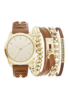 Jessica Carlyle Gold-Tone Braid Strap Watch and Bracelet Set