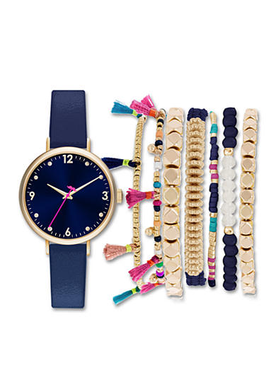 Jessica Carlyle Women's Navy and Gold Fringe Bracelet and Watch Set