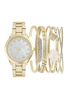 American Exchange Gold Metal Watch and Bracelet Set