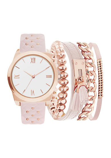 American Exchange Women's Studded Strap Watch and Bracelet Set