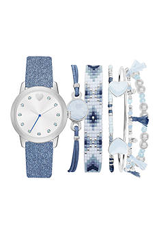 American Exchange Women's Denim Strap Watch and Bracelet Set