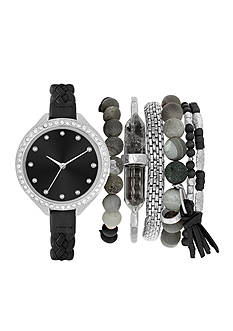 American Exchange Women's Braided Strap Watch and Bracelet Set
