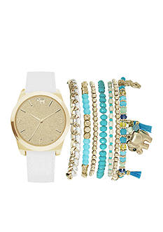American Exchange Women's Gold-Tone Elephant Watch and Bracelet Set